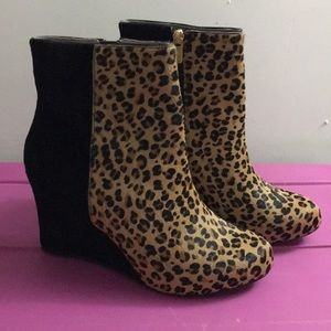 Rockport leopard calf hair black suede wedge boots